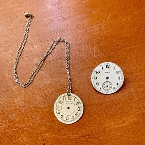 Vintage Clock Face Necklace and Pin